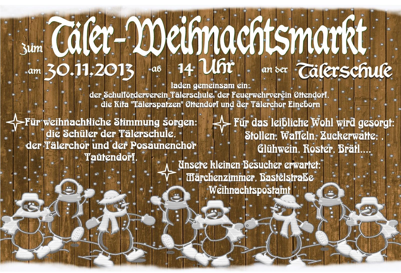 einladung zum täler – weihnachtsmarkt 2013 | tälerschule ottendorf, Einladungen